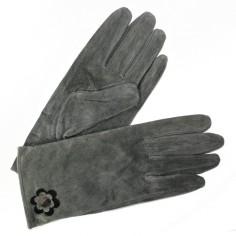 Gants Cuir Femme Gris Glove Story avec fleur