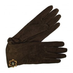 Gants Cuir Femme Marron Glove Story avec fleur