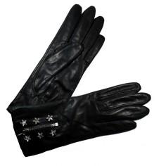 Gants Femme Cuir Zip et Etoiles Swarovski Glove Story