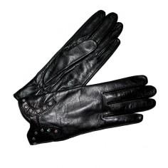 gant cuir pierres swarovski noir Femme