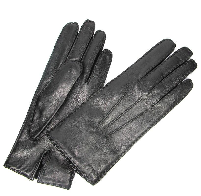gants avec surpiq res en cuir noir pour femme tous les gants. Black Bedroom Furniture Sets. Home Design Ideas
