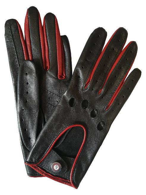 gants de conduite femme racing cuir noir et rouge glove story. Black Bedroom Furniture Sets. Home Design Ideas